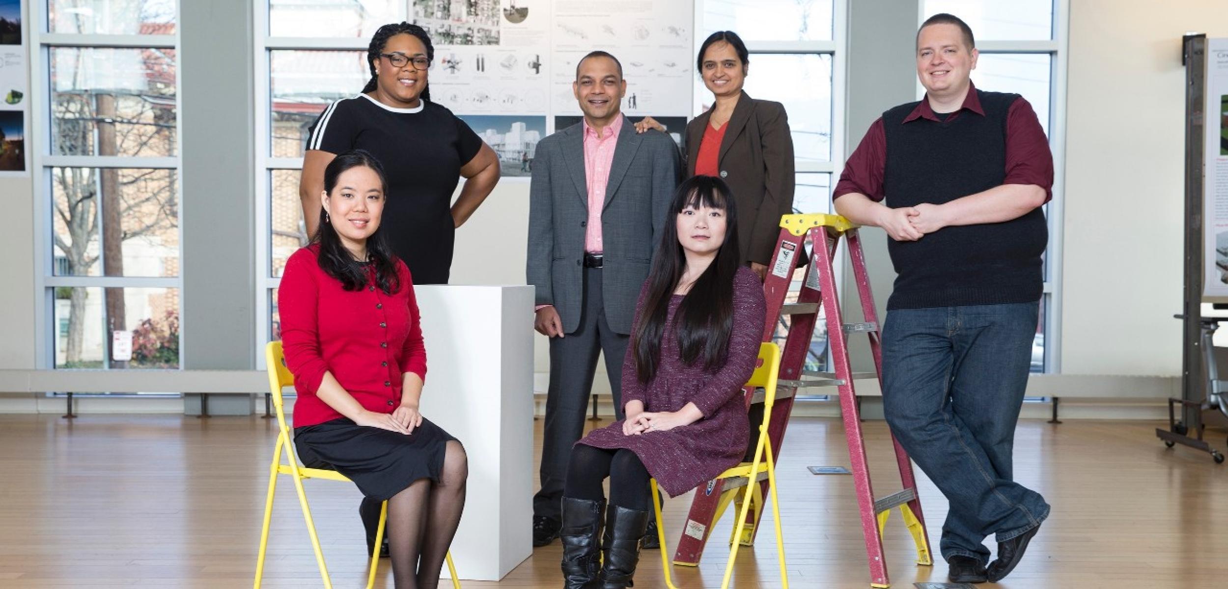 Hong Cheng (seated), Christina Campbell, Pravin Bhiwapukar, Guo Freeman (seated), Shailaja Paik and Robert Freeman