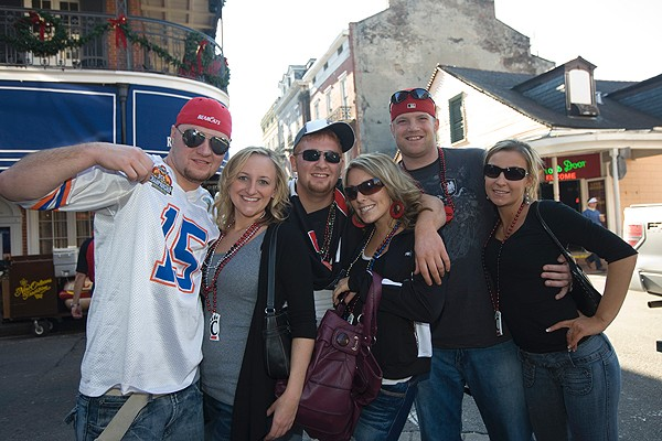 UC fans on Bourbon Street. Pictured left, a fan of both the Florida Gators and the Bearcats decides to support the Sugar Bowl opponents in New Orleans.