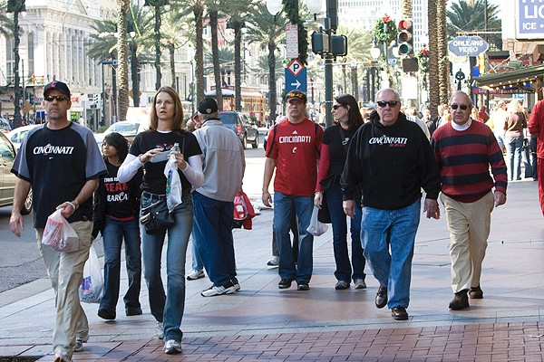 UC Bearcats fans in the city's famed French Quarter.