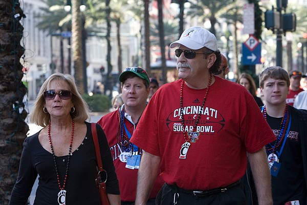 UC Bearcats fans take in the sights and sounds of New Orleans. For many, the trip included a stroll down Bourbon Street and a cruise in the bayou.