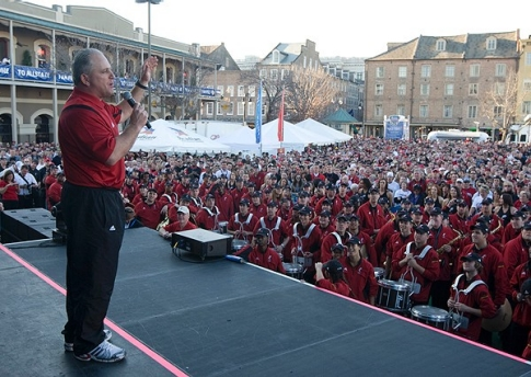 UC Bearcats fans packed into Jackson Square in New Orleans for a pep rally on Dec. 31, 2009. Interim head football coach Jeffrey Quinn addresses the crowd.