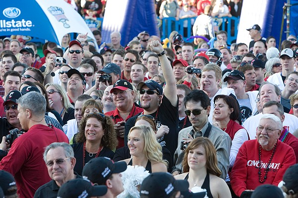 UC Bearcats fans packed into Jackson Square in New Orleans for a pep rally on Dec. 31, 2009.