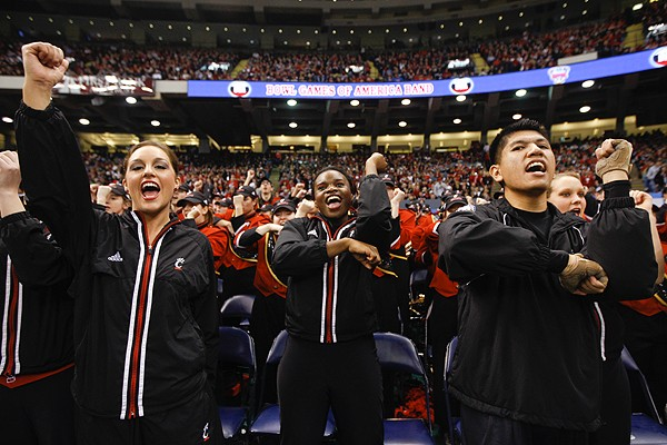 The Bearcats' cheer section leads the UC faithful.