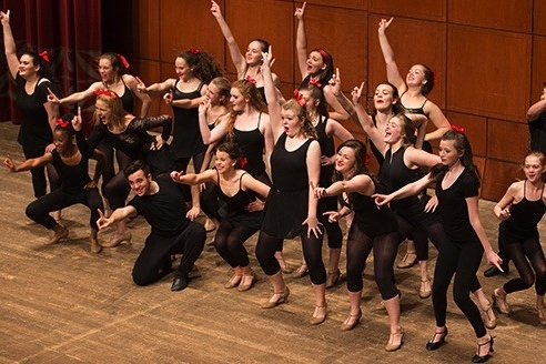 High school students perform on stae at UC CCM's summer camp for theater arts..