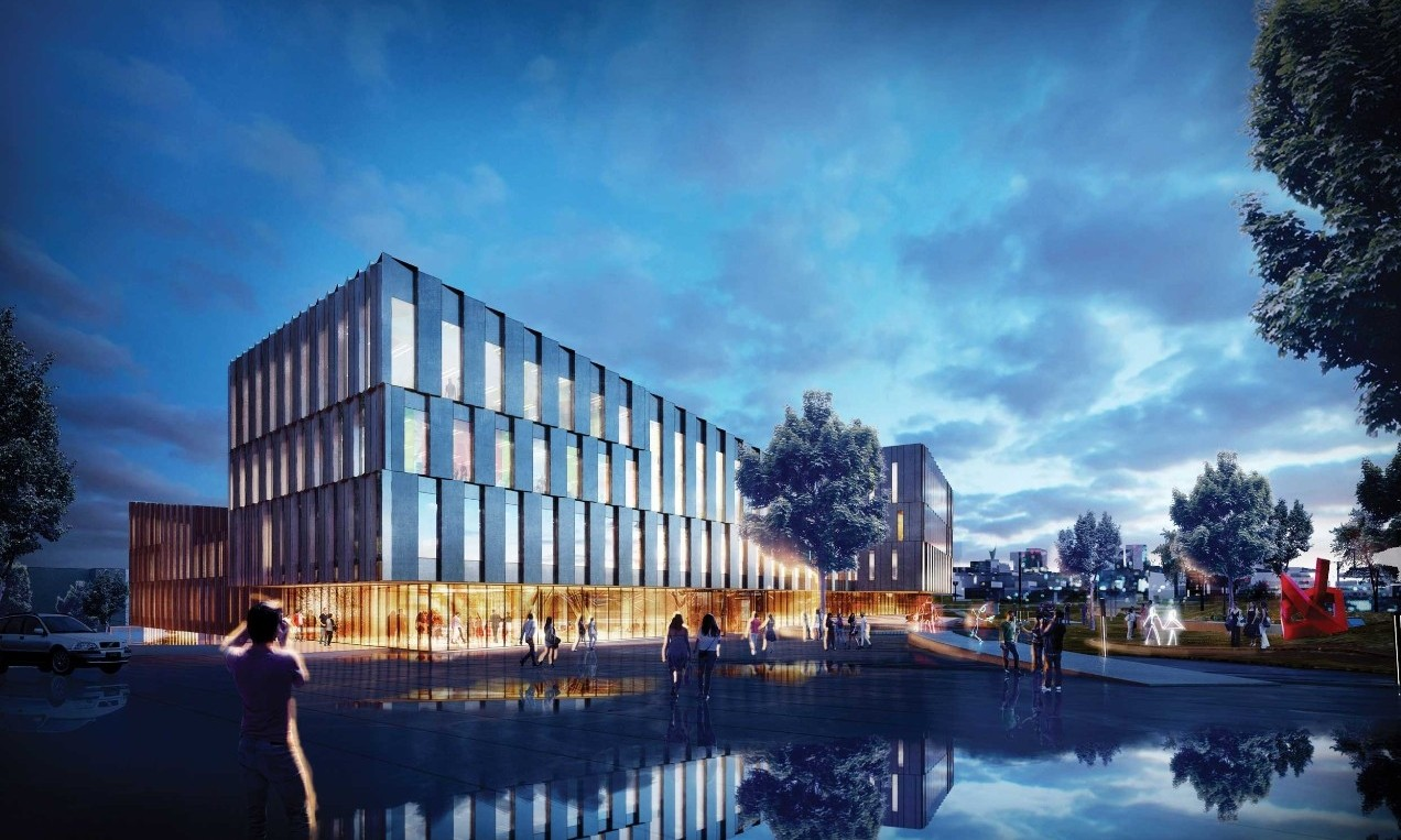 UC's new LEED gold-certified $120 million cutting-edge Carl H. Lindner College of Business scheduled to open in the fall of 2019.