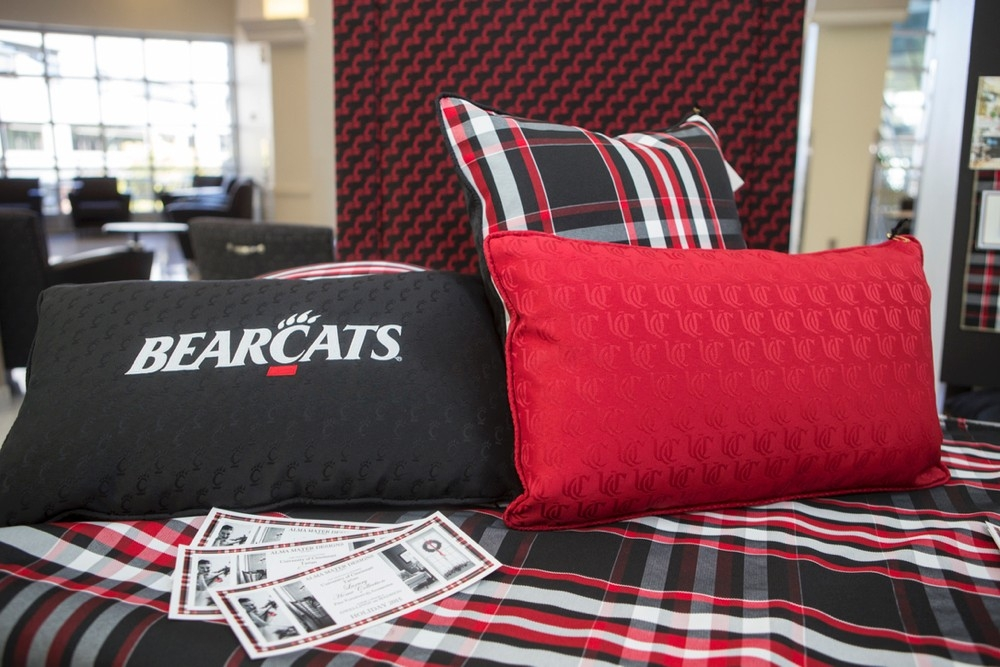A red, a black and a plaid cusion propped on a plaid bed throw.