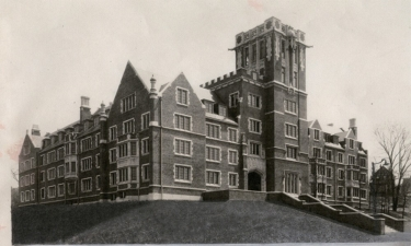 A black and white image from the 1940s depicts UC's Memorial Hall.