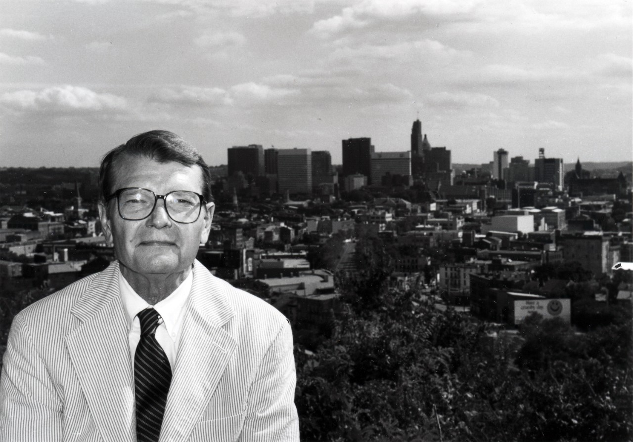 The late Zane Miller sits in front of the Cincinnati skyline