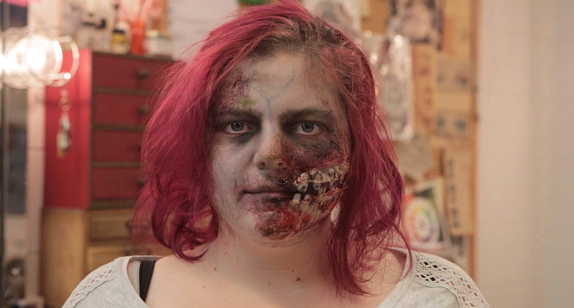 Student in zombie makeup