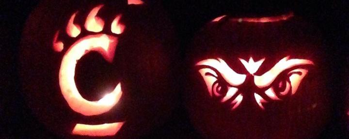 pumpkins with Bearcats design