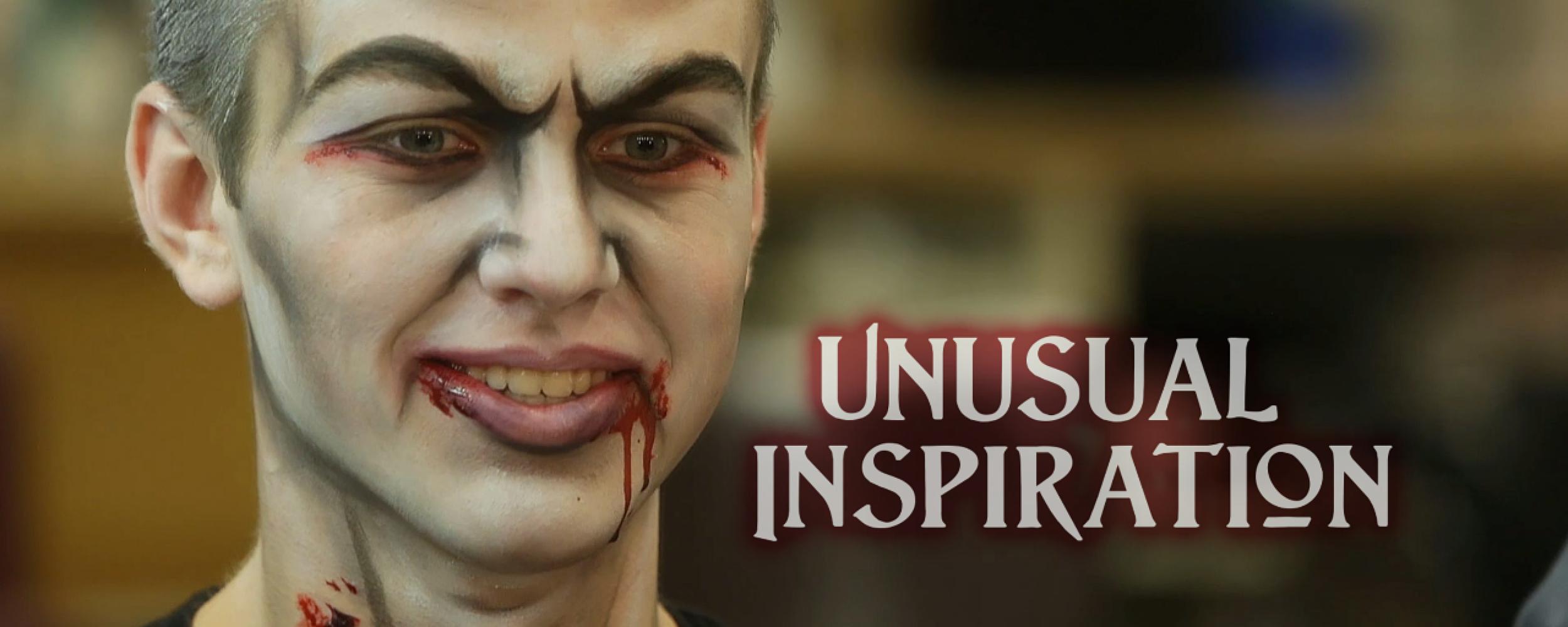 student in vampire makeup