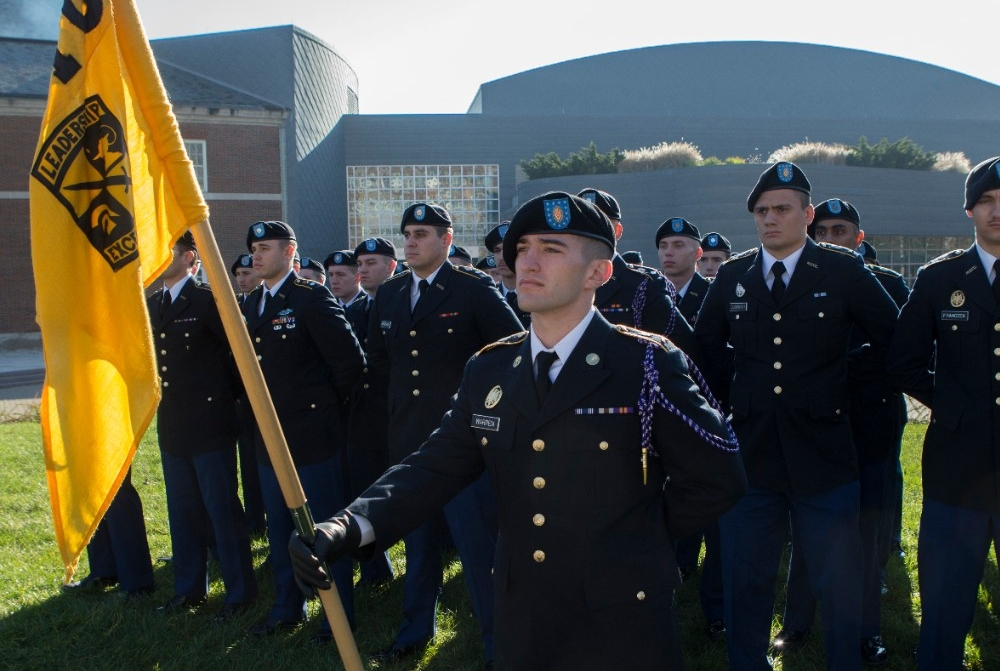The Army ROTC stands in formation.