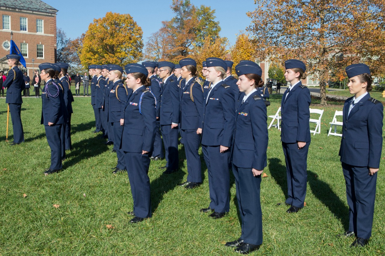 Air Force ROTC cadets stand at attention.