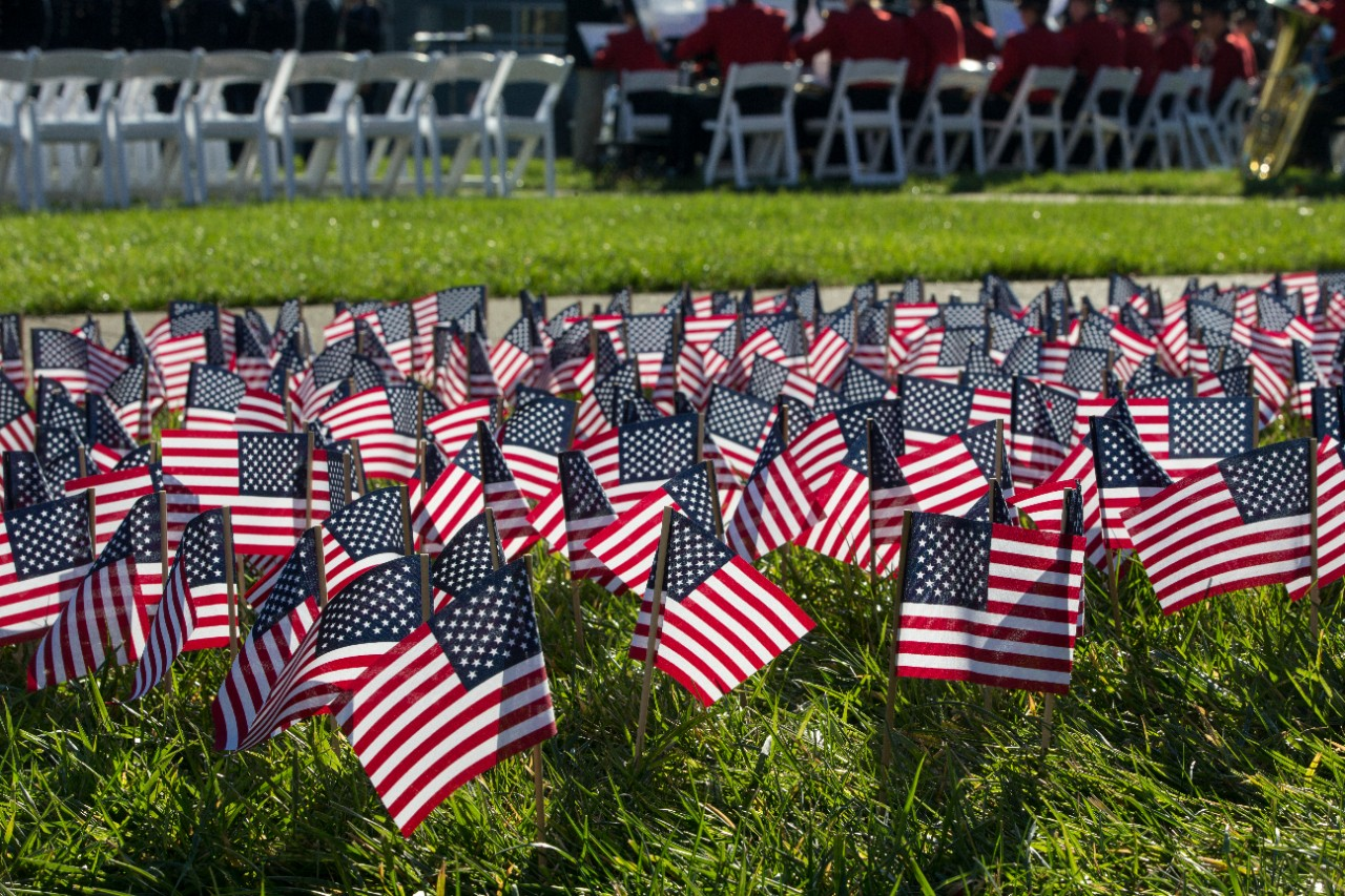 2,034 American flags in the lawn of McMicken Commons, each one representing a UC student veteran.
