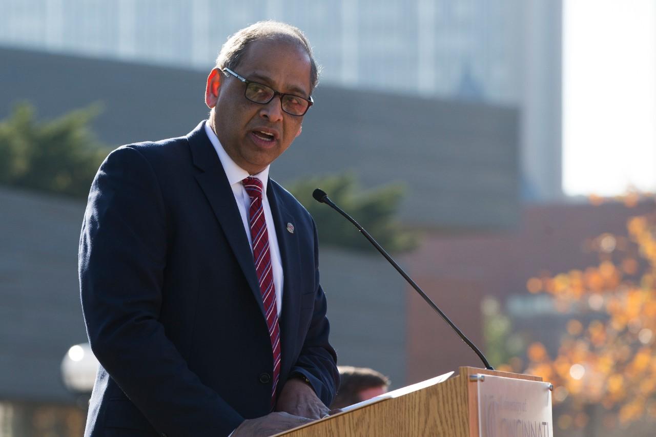 President Neville Pinto gives remarks.