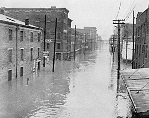 A view of second street from the Suspension Bridge during the Great Flood of 1937.