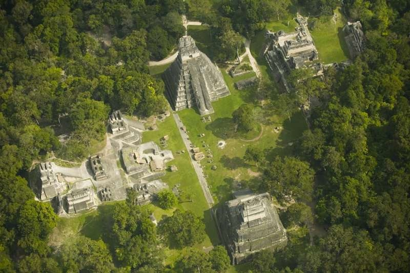 An aerial view of present-day Tikal building structures in Guatemala, Central America.