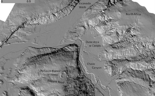 An areial view of a LIDAR laser image taken from a plane measuring the surface of Chaco Canyon, New Mexico.