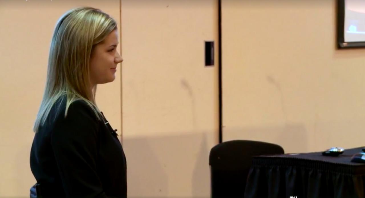 Sara Whitestone spoke during a UC Board of Trustees meeting in 2012.