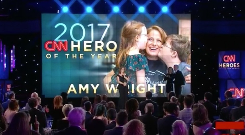 TV image of UC alumna Amy Wright as she wins the 2017 CNN Hero of the Year award.