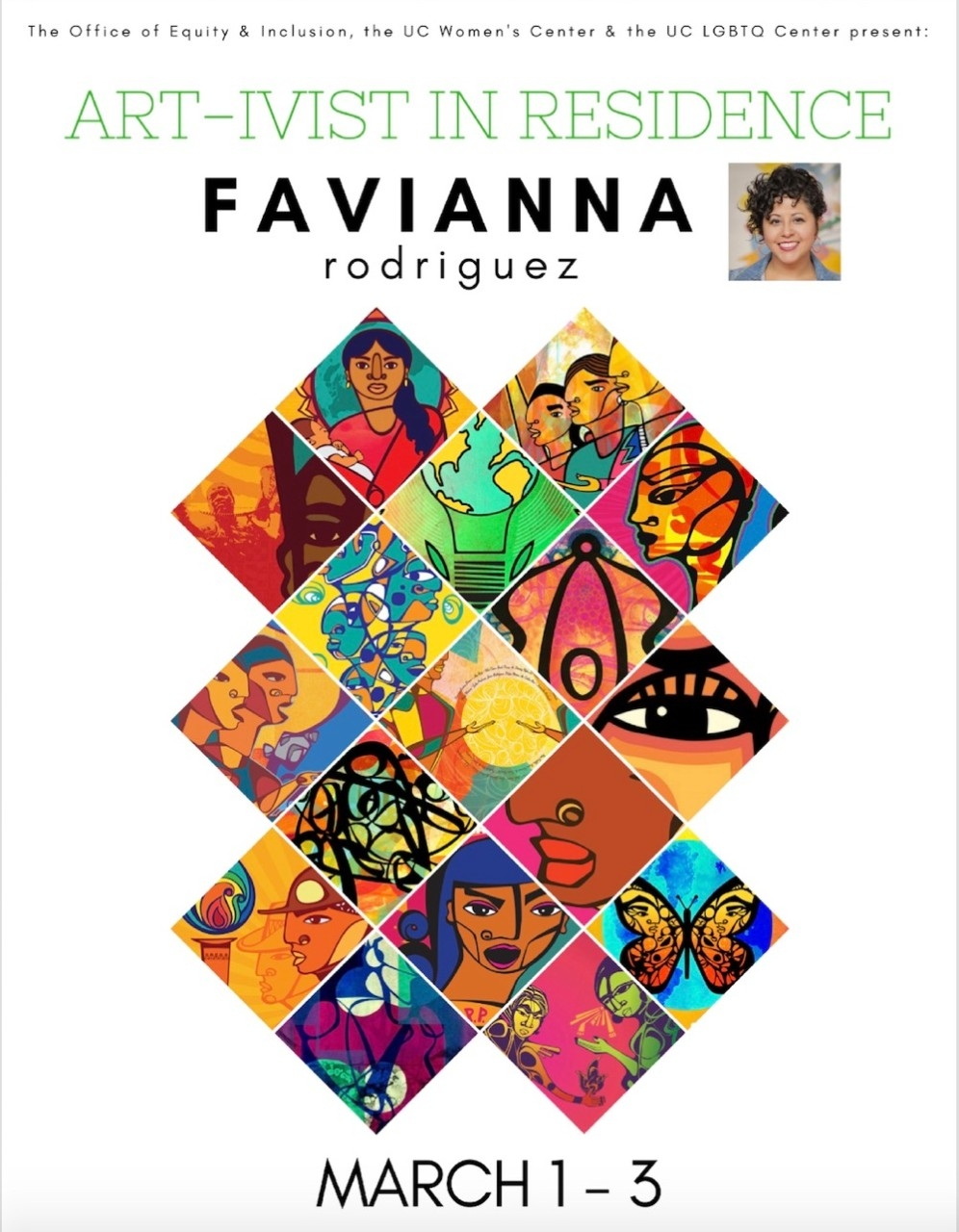 Poster promoting Favianna Rodriguez, visiting artist for UC's Women's History Month events 2018