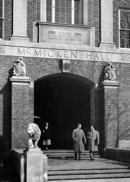 Students in front of the newly dedicated McMicken Hall in 1950.