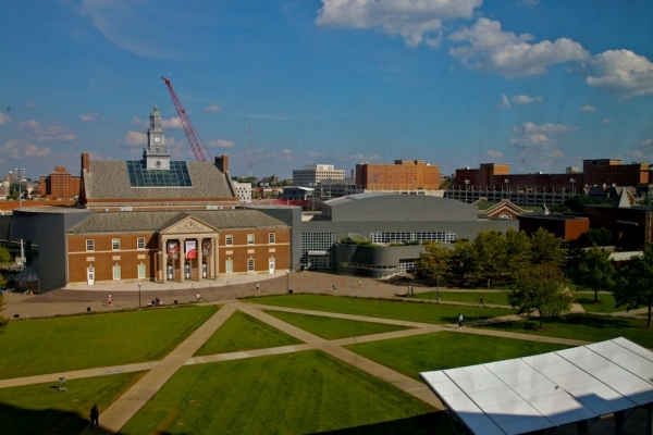 View of campus and TUC from under the Wren Tower in 2014. photo/Melanie T-Schefft