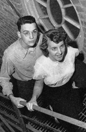 Sophomore Jean Michel and her friend climb the stairs of the Christopher Wren Tower in the newly refurbished McMicken Hall in 1950