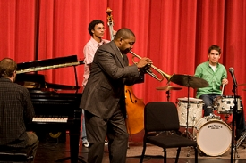 CCM jazz students got to play with legendary jazz trumpeter Wynton Marsalis at a master class. Pictured are pianist Allen Braman, bassist Maurice Ellis and drummer Martin Diller. photo/Dottie Stover