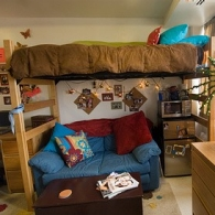 A typical dorm room.