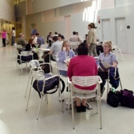 Students sit in DAAP cafe.