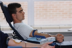 Guy giving blood