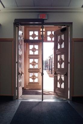 Braunstein Hall bronze doors.