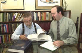 Professor Roger Daniels meets with Kevin Bower