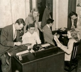 1948 photo of News Record staff