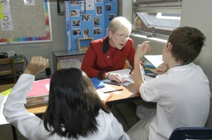 Nancy Zimpher teaches in a public school classroom
