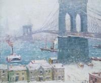 """Guy Wiggins """"Brooklyn Bridge in Winter"""""""