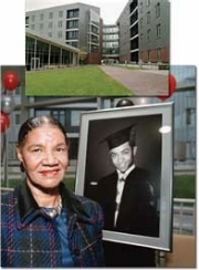 Darwin Turner's widow, Jean Turner, helped unveil this photograph of her husband during the dedication of UC's newest residence hall complex. The image will hang in the building named in his honor. photo/Lisa Ventre