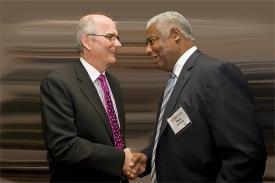 UC President Gregory Williams with alum Oscar Robertson