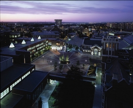 Night shot of CCM Village at University of Cincinnati.