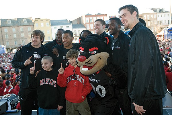 Mitch Stone with UC football players in New Orleans.