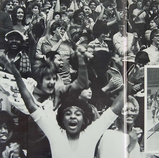 Students cheer in the stands of this 1982 yearbook photo. Photos/UC Archives and Rare Books Department