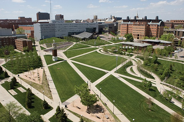 UC's Campus Green and Sigma Sigma Commons.