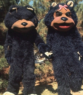 A male and female versions of the University of Cincinnati mascot, the Bearcat.