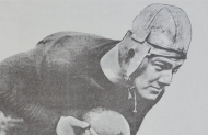 The namesake of the University of Cincinnati mascot, Teddy Baehr, in his leather football helmet.