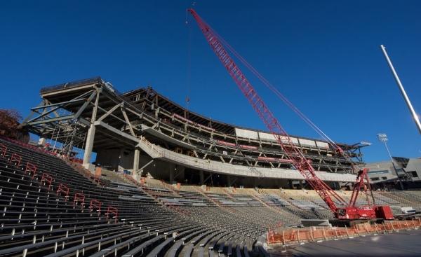 Construction photo of Nippert Stadium in January 2015