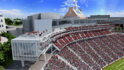 Rendering shows the west pavillon addition at Nippert Stadium