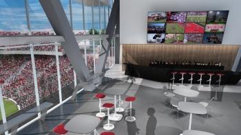 Rendering shows inside UC's Nippert Stadium west pavilion