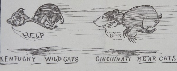 A newspaper clipping of an illustrated Bearcat from 1914.