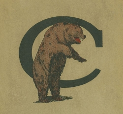 A 1922 UC logo shows a live bear with a university logo.